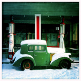 Old Car in Front of Old Timey General Store and Gas Station in Winter Photographic Print by Skip Brown