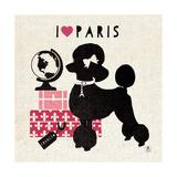 Paris Pooch Giclee-tryk i høj kvalitet af Sarah Mousseau