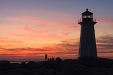 Peggy's Point Lighthouse in Silhouette at Sunset Photographic Print by Jonathan Irish
