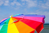 A Beach Umbrella and a Blue Sky on Martha's Vineyard Photographic Print by Ben Horton