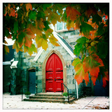 Red Church Door Framed by Autumn Leaves Photographic Print by Skip Brown