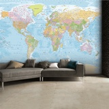 World Map Wallpaper Mural Mural de papel de parede