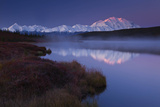 Scenic View of Snow-Covered Mount Mckinley Beyond a Wonder Lake Photographic Print by Ralph Lee Hopkins