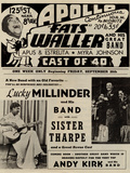 Apollo Theatre  Handbill: Fats Waller, Lucky Millinder, Sister Tharpe Affiche