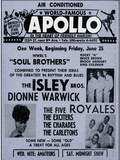 Apollo Theatre Ad: Soul Brothers, Isley Brothers, Dionne Warwick, Five Royales, Charades, Carletons Lrredstryk p blindramme
