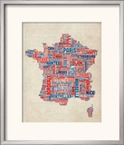 Typography Text Map of France Map Framed Photographic Print by Michael Tompsett
