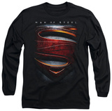 Long Sleeve: Man of Steel - Large Shield T-Shirt