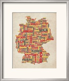 Text Map of Germany Map Framed Photographic Print by Michael Tompsett