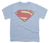 Youth: Man of Steel - New MoS Distessed Shield T-shirts