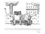 Two men on a bench. One is eating a sandwich, the other is looking through… - New Yorker Cartoon Premium Giclee Print by Zachary Kanin