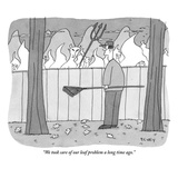 &quot;We took care of our leaf problem a long time ago.&quot; - New Yorker Cartoon Premium Giclee Print by Peter C. Vey