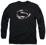 Long Sleeve: Man of Steel - MoS Shield Fracture T-Shirt