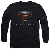 Long Sleeve: Man of Steel - Man of Steel Shield T-Shirt