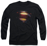 Long Sleeve: Man of Steel - Grungy Shield T-Shirt