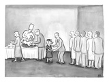 People are in line to be served portions of a roasted pig. Shaking hands a… - New Yorker Cartoon Premium Giclee Print by Paul Noth