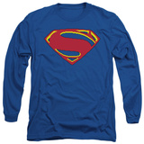 Long Sleeve: Man of Steel - 8 Bit Shield T-shirts