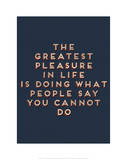Greatest Pleasure in Life Print