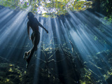 Woman Taking the Morning Sun Rays Entering Cenote Cristalino, Quintana Roo, Mexico. Photographic Print by Christian Vizl