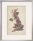 Great Britain UK City Text Map Framed Photographic Print by Michael Tompsett