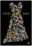 Divas Rock Buttons by Gdogs Cosmic Rock Poster Posters