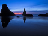 Sea Stacks Line Bandon, Oregon Beach after Sunset During the Blue Hour. Photographic Print by Patricia Davidson