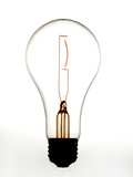 Light Bulb on White Background Photographic Print by James Shive