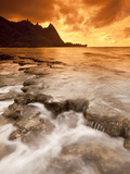 Kauai, Hawaii: Sunset on Tunnels Beach Photographic Print by Ian Shive