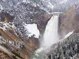 Spring Snow at Lower Falls Photographic Print by Mike Cavaroc