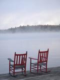 Two Red Rockers on Dock at Sunrise, Lake Mooselookmegontic, Maine Fotodruck von Nance Trueworthy