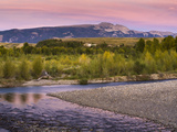Dusk over the Gros Ventre River and Sleeping Indian Photographic Print by Mike Cavaroc