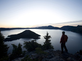 Young Man Hiking around Crater Lake National Park, Or. Photographic Print by Justin Bailie