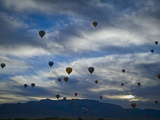 Balloons Soaring About Sandia Mountains During Albuquerque Balloon Fiesta Photographic Print by James Shive