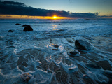 Sunset at Beach with Waves Breaking on Shoreline, Martha's Vineyard Photographic Print by James Shive