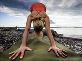 Lisa Eaton Holds a Downward Dog Yoga Pose on the Beach of Lincoln Park - West Seattle, Washington Photographic Print by Dan Holz