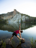 Yoga Session at Hatchett Lake Afer a Long Day of Backpacking in the White Cloud Mountains in Idaho. Photographic Print by Ben Herndon