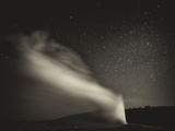 Old Faithful Geyer after Dark at Yellowstone National Park Photographic Print by Rebecca Gaal