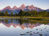 Sunrise on the Teton Mountains at Schwabacher Landing Photographic Print by Mike Cavaroc