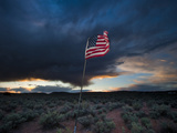 American Flag in Desert Photographic Print by James Shive
