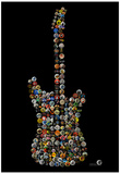 Classic Guitar Rock Buttons by Gdogs Cosmic Rock Poster Poster by  Gdog