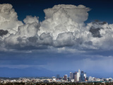 Downtown Los Angeles, California with Cumulonimbus Clouds Forming Overhead. Photographic Print by Ian Shive