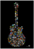 Rock Guitar Buttons by Gdogs Cosmic Rock Poster Posters by  Gdog