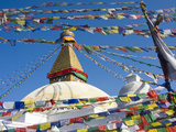 Boudhanath Stupa and Prayer Flags, Kathmandu, Nepal. Photographic Print by Ethan Welty