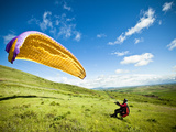 A Reverse Launch While Paragliding at Steptoe Butte on the Palouse in Eastern Washington. Photographic Print by Ben Herndon