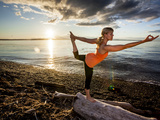 Yoga Position: Dance Pose on the Beach of Lincoln Park - West Seattle, Washington Photographic Print by Dan Holz