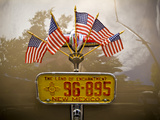 American Flags on Back of Antique Car with New Mexico License Plate Photographic Print by James Shive