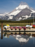 Many Glacier Lodge on Swiftcurrent Lake During Sunrise, Glacier National Park, Mt Photographic Print by Brad Beck