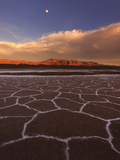 Patterns in the Salt Flats Stretch Out over Death Valley as a Clearing Storm Reveals the Moon Photographic Print by Miles Morgan
