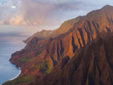 The Fluted Cliffs of the Na Pali Coast at Sunset, Kauai, Hawaii. Photographic Print by Ethan Welty