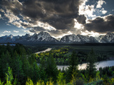 The Snake River with the Sun Setting over the Grand Tetons in the Background Photographic Print by Brad Beck