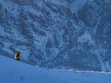Bull Elk on Snowy Ridge Photographic Print by Mike Cavaroc